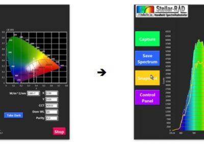 StellarRAD handheld spectroradiometer software snapshot